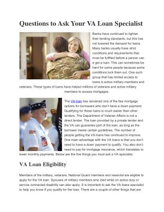 Questions to Ask Your VA Loan Specialist