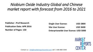 Niobium Oxide Industry Global and Chinese market report with forecast from 2016 to 2021