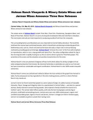 Holman Ranch Vineyards & Winery Estate Wines and Jarman Wines announce Three New Releases