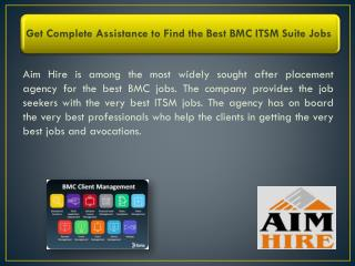 Get Complete Assistance to Find the Best BMC ITSM Suite Jobs