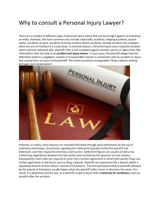 Why to consult a Personal Injury Lawyer?