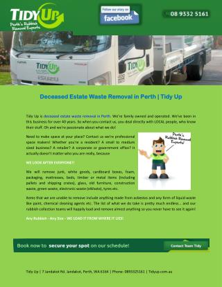Deceased Estate Waste Removal in Perth | Tidy Up