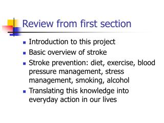 Review from first section