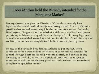 Does iAnthus hold the Remedy intended for the Marijuana Market?