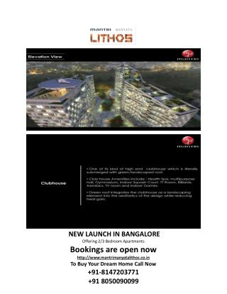 Mantri Lithos - Pre-launch 2 BHK, 3BHK Apartmnets