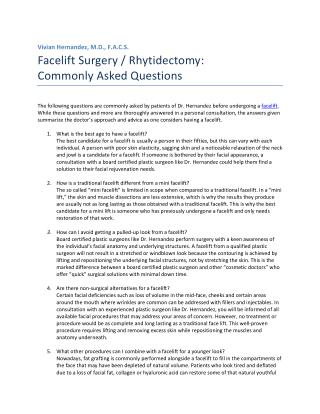 Facelift: Commonly Asked Questions