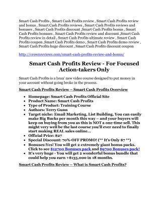 Smart Cash Profits review in detail – Smart Cash Profits massive bonus