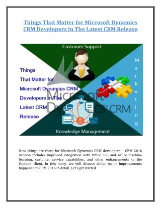 Things That Matter for Microsoft Dynamics CRM Developers in The Latest CRM Release