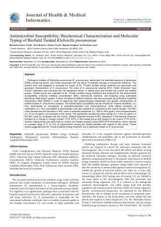 Klebsiella Pneumoniae Biochemical Characterization