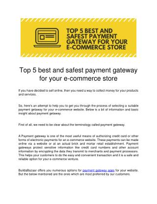Top 5 best and safest payment gateway for your e-commerce store
