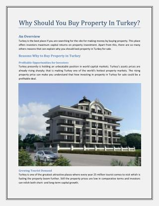 Why Should You Buy Property In Turkey?