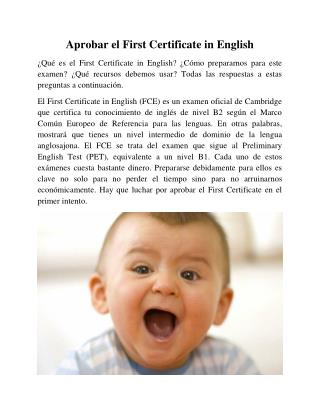 Aprobar el First Certificate in English
