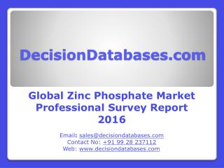 Zinc Phosphate Market Research Report: Worldwide Analysis 2016-2021