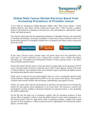 Global Male Cancer Market Receives Boost from Increasing Prevalence of Prostate Cancer