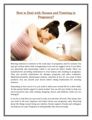 How to Deal with Nausea and Vomiting in Pregnancy?