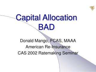 Capital Allocation BAD