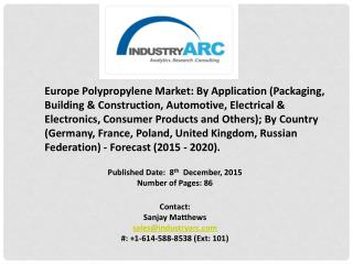 Europe Polypropylene Market growing with rising demand from flexible packaging industry, globally.Europe Polypropylene M
