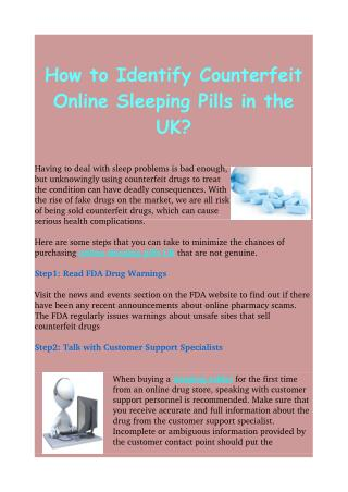 Know About Online Sleeping Pills UK