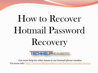 Hotmail Customer Service To Recover Password