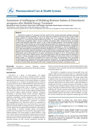 Assessment of Antibiogram of Multidrug-Resistant Isolates of Enterobacter aerogenes after Biofield Energy Treatment