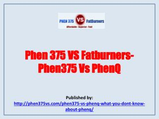 Phen 375 VS Fatburners-Phen375 Vs PhenQ