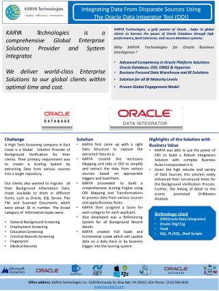 Integrating Data From Disparate Sources Using The Oracle Data Integrator Tool (ODI) - KARYA Technologies Case Studies