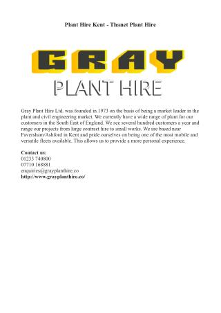 Plant Hire Kent - Thanet Plant Hire