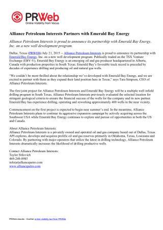 Alliance Petroleum Interests' Press Release