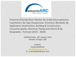 Polyvinyl Chloride Resin Market: rampant demand of PVC material in construction industry.