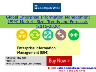 2016-2020: Global EIM Market by Value, Volume, Trends & Forecasts