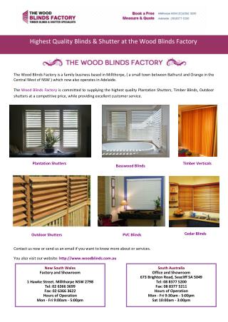 Highest Quality Blinds & Shutter at the Wood Blinds Factory