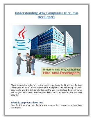 Understanding Why Companies Hire Java Developers