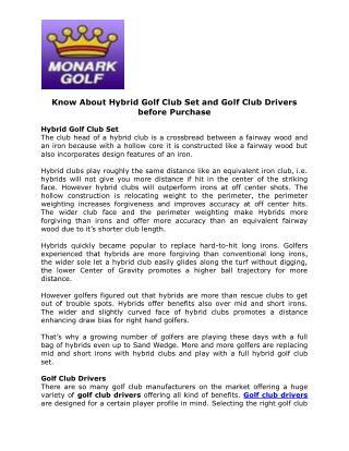 Golf Club Drivers - Monark Golf