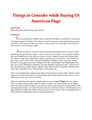 Things to Consider while Buying US American Flags