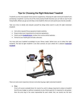 Tips for Choosing the Right Motorised Treadmill