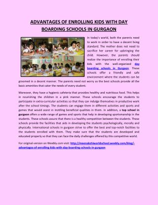 ADVANTAGES OF ENROLLING KIDS WITH DAY BOARDING SCHOOLS IN GURGAON