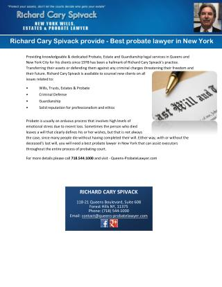 Richard Cary Spivack provide - Best probate lawyer in New York