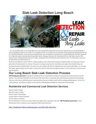 Slab Leak Detection Long Beach