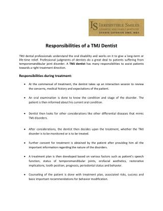 Responsibilities of a TMJ Dentist