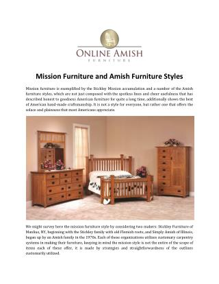 Mission Furniture and Amish Furniture Styles