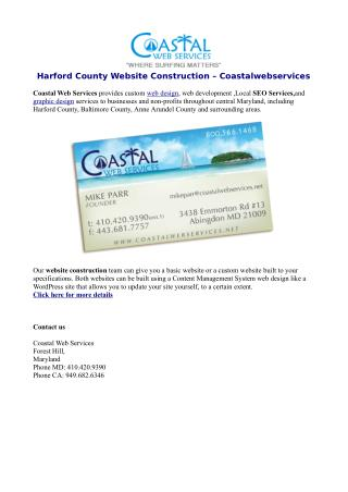 Harford County Website Construction – Coastalwebservices