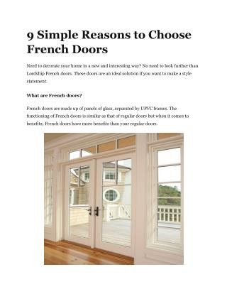 9 Simple Reasons to Choose French Doors