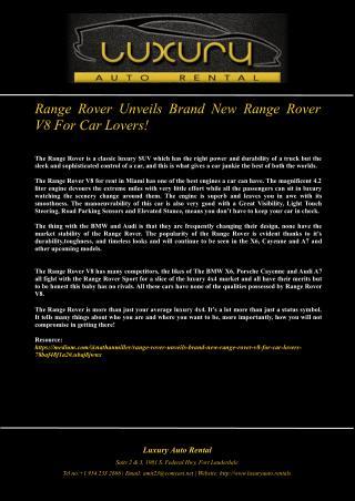 Range Rover Unveils Brand New Range Rover V8 For Car Lovers!