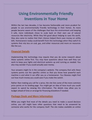 Using Environmentally Friendly Inventions in Your Home