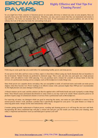 Highly Effective and Vital Tips For Cleaning Pavers