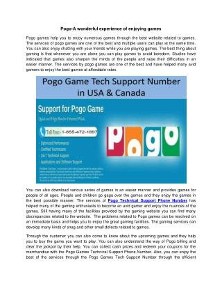 Pogo-A wonderful experience of enjoying games