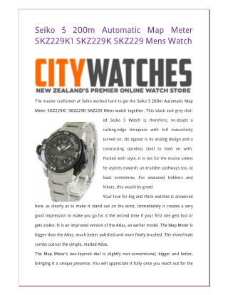 Seiko 5 200m Automatic Map Meter SKZ229K1 SKZ229K SKZ229 Mens Watch