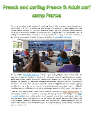 French and surfing France & Adult surf camp France