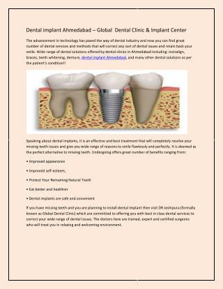 Dental implant Ahmedabad – Global Dental Clinic & Implant Center