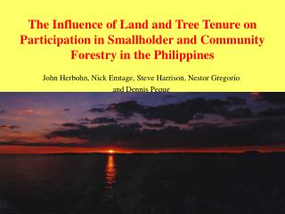 The Influence of Land and Tree Tenure on Participation in Smallholder and Community Forestry in the Philippines